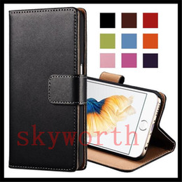 Wholesale Iphone Real Leather Pouch - Flip Wallet Real Leather case for iphone 5S 6 6s Plus Samsung Galaxy S3 S4 S5 Note 3 4 Sony Z3 Card Slot
