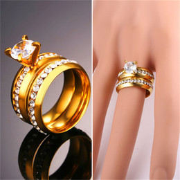 Wholesale Real Engagement Ring Men - 18K Real Gold Plated Couple Rings with Clear Austrian Rhinestones Women Men Eternal Rings for Engagement Wedding