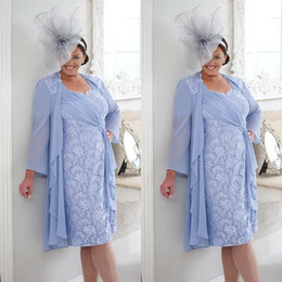 Discount sheath dresses - Plus Size Mother of the Groom Bride Dress Short Knee Length Ruched Chiffon Ribbon Lace Column Wedding Guest Gowns with Long Sleeve Jacket