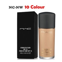 Wholesale Nw 15 - Wholesale-Professional Brand Makeup Face Foundation Liquid 30ML Studio fix fluid SPF 15 Base Concealer NC-NW Free Shipping