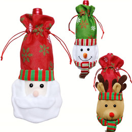 Wholesale Wine Christmas Ornament - Christmas Decorations Snowman Deer Wine Bottle Cover Xmas Santa Dinner Table Decor Christmas Party Red Wine Dresses