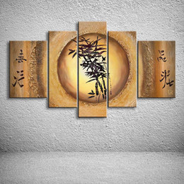 Wholesale Modern Abstract Oil Paintings Bamboo - Hand Painted Chinese Bamboo Oil Painting On Canvas Modern Home Decor Wall Art Abstract Acrylic Paintings 5 Panel Pictures Arts
