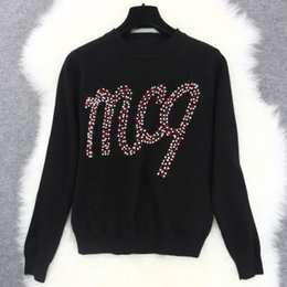 Wholesale Knit Tops Multicolor - 2016 Top Quality Celebrity Black Letter Multicolor Ball Long Sleeves Autumn Women's Sweater Women's Pullovers 101006
