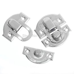 Wholesale Silver Tone Jewelry Box - Free Shipping 50 Sets Jewelry Wooden Case Boxes Making Lock Latch Hardware Silver Tone 28mm x 27mm 27mm x 13mm B01201