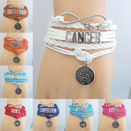 Wholesale Friends Decor - Chic Elegant Ladies Women Horoscope Zodiac Letter Chain Bracelet Cute Boho Lolita Party Hand Decor Charm Bracelets Friends Lover Gift