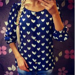 Wholesale Three Quarter Sleeve Floral Blouse - 2017 New Fashion Women Shirts Chiffon Blouses Spring Summer Print O-neck Three Quarter Plus Size Love Dot Green Blue Button