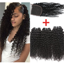 Wholesale Kinky Hair Closures - Brazilian Kinky Curly With 4x4 Lace Closure Brazilian Curly Hair With Closure Unprocessed Brazilian Virgin Human Hair Bundles With Closure