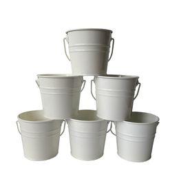 Wholesale White Tin Buckets - D10.5xH9.5CM Small Rustic Metal pail garden bucket tin box Iron pots White wedding buckets