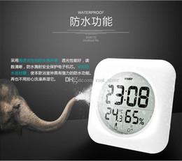 Wholesale Digital Thermometer Temperature Meter Gauge - Beauty White LCD Waterproof Shower Bathroom Wall Clock Temperature Thermometer Hygrometer Meter Gauge Monitor Humidity