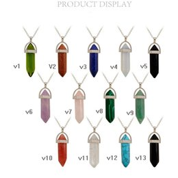 Wholesale Sterling Silver European Charms Wholesale - Natural stone hexagonal column pendant, bullet crystal necklace, creative European and American foreign trade manufacturers direct sales