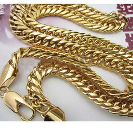 Wholesale 18k Rose Gold Gf - 18k Yellow Gold Filled necklace 9mm Double curb solid Euro Link Chain GF Necklace 60cm 100g mens or womens new arrival !!