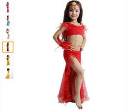 Wholesale Bollywood Top - Hot Sale Children Girls Kids Bollywood Dance Costumes 2piece(Top+Dress) Danza Del Vientre De La Ropa 5color Indian Dance Belly Dance Dress