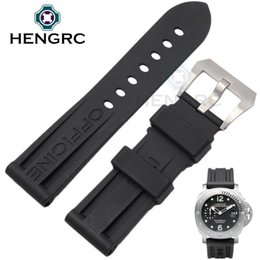 Wholesale Mens Rubber Watch Bands - HENGRC 22mm 24mm Watch Bands Black Silicone Rubber Diving Mens Watchbands Strap Stainless Steel Buckle Wholesale For PANERAI