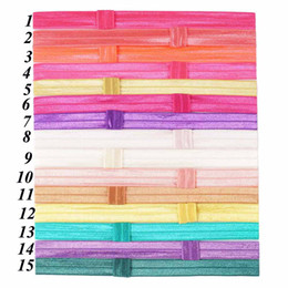 "Wholesale Solid Color Headbands - 5 8"" High Quality Solid FOE Shimmery Headwear for Baby Girls Bow Elastic Headband Hair Accessories 44 Colors"