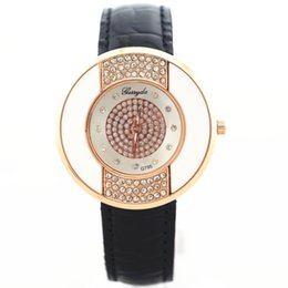 Wholesale Wholesale Champagne Cases - PVC leather band,gold plate round case with crystal deco,crystal dotted dial,quartz movement,Gerryda fashion woman lady leather watch,795