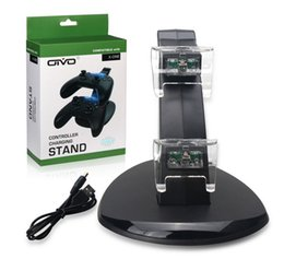 Wholesale dock lights - Dual Charging Stand USB Charger Dock Station for Playstation DualShock 4 PS4 XBOX ONE Controller Gamepad Mount Holder LED Light Airplane