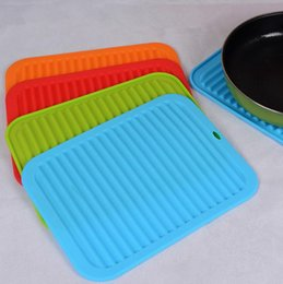Wholesale Heat Resistant Polyester - Non-Slip Heat Resistant Mat Coaster Cushion 30x23cm Silicone Placemat Pot Holder Drying Table Mat Kitchen Accessories OOA3514