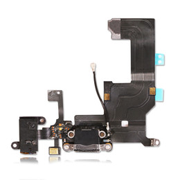 Wholesale Usb Repair - High Quality Brand New Charging Port USB Charger Dock Connector & Headphone Jack Audio Flex & Mic for iPhone 5 Repair Parts