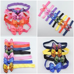 Wholesale Elastic Bows For Gifts - 7 Multi colors INS Baby Girls Hairbands with 3D butterfly hair Accessories Elastic Band Bow headbands hair wear Gift for Baby 24pcs lot A22