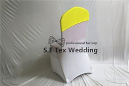 Wholesale Satin Chair Covers For Sale - 100pcs Sale Satin With Lycra Spandex Chair Hood \ Cap Fit For Wedding Banquet Chair Cover Decoration