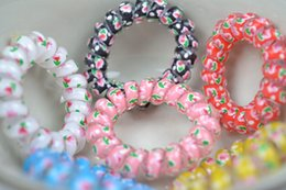 Wholesale flowing hair - Candy Colored Telephone wire Mix Color Fashionable women headdress head flow Gum Elastic ponytail holders Hair Ring Spring Rubber Band Acces