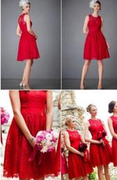 633b3f6f70 Más el tamaño 2016 de encaje rojo de damas de honor vestidos cortos sin  mangas de longitud de la rodilla por encargo barato de la criada del partido  de los ...