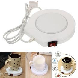 Wholesale Cup Pads - White Electronic Powered Cup Warmer Heater Pad Coffee Tea Milk Mug US Plug Coffee Tea Milk Drink Mug Heater Tray For Office House
