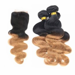 Wholesale Cheap Two Tone Blonde Hair - Cheap Brazilian Body Wave Human Hair 3 Bundles With Lace Top Closure 4*4 1B 27 Honey Blonde Ombre Two Tone Hair Extensions