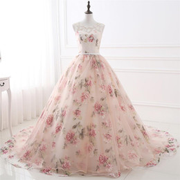 Wholesale Long Robes For Women - Real Photo Floral Prom Dresses Long 2018 A Line Sheer Formal Evening Dress For Women Imported Party Dress Robe De Soiree