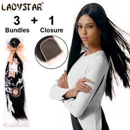 Wholesale premium lace front - Wholesale-LADYSTAR Grade 8A Malaysian Unprocessed Premium 100%Human Hair 3Pcs Unprocessed Straight Hair with Lace Front Closure