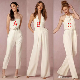 Wholesale Dress Jumpsuits For Women - Sexy V-Neck Halter Country Style Ivory Chiffon Bridesmaid Jumpsuits 2018 Latest Maid Of Honor Dress Cheap Women Dresses For Wedding Guest