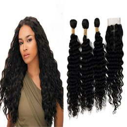 Wholesale Natural Wave Fashion - Peruvian Virgin Human Hair Wefts With Closure Deep Wave Hair Extensions For Fashion Women 100% Human Hair