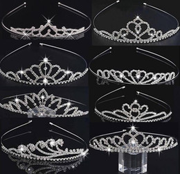 style wedding glitter Coupons - 8 New Styles Kids Girls Glitter Crystal Rhinestone Twinkle Princess Crown Tiara Headband Hair band FLower Girl Wedding Birthday Prom