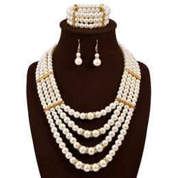 Wholesale Cheap China Jewellery - New Pearl Necklace Earring Bracelet Jewelry Set Diamonds Wedding Bride Party Cheap Jewellery Sets Free Shipping