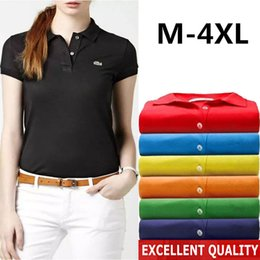 Wholesale Solid Color Shirts - 2018 Spring New Summer Women Crocodile Embroidery Cotton Short Sleeved Polos Womens Polo Tops Plus Size Slim Female Women Polo Shirts