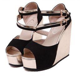 Wholesale Silver Wedges Rhinestones - Wedding Sparkly Glitter Silver High Heels For Prom Dress Heels Wedge Heel Sandals Size 34 - 40 41