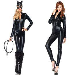 Wholesale Pvc Catwoman Costumes - sexy PVC rubber lingerie leather catsuit Catwoman Theme Costume SIZE