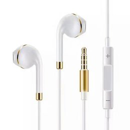 Wholesale Blackberry Gold Phone - Upgrade New Apple Phone Earphones with Gold ring In-Ear Earphone 3.5mm Aux