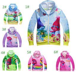 Wholesale Kids Character Sweatshirts - Boys Girl Trolls Hoodies Sweatshirts Kids Cartoon Top Children Cartoon pPincess Long Sleeve Zipper Hoodie Jacket Kids Coat