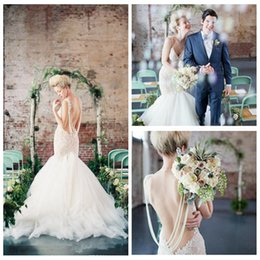 Wholesale Online Skirt - 2017 Spaghetti Mermaid Lace Appliques Wedding Dresses Backless Pearls Beading Custom Bridal Gowns Custom Online Tulle Skirt Church Wedding
