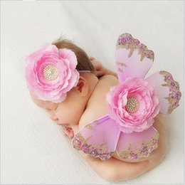 Wholesale Baby Wings Photo - Wholesale Clothing Baby Photography Props Butterfly wings Clothes Sets Newborn Baby Flowers Headbands Set Baby Photo Studio Clothes