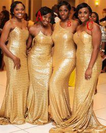 Wholesale junior models dresses - 2018 Cheap Sael Slim Mermaid Plus Size Junior Gold Sequin Bridesmaid Dresses Long Sexy Honor Of Maid Slim Custom Online Vestidos De Soiree