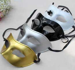 Wholesale Wholesale Silver Masquerade Masks - Silver Gold White Black Man Half Face Archaistic Antique Classic Men Mask Mardi Gras Masquerade Venetian Costume Party Masks 10pcs lot