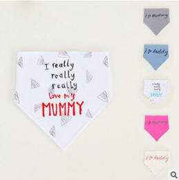 Wholesale Infant Cute Bibs - Thick Baby Bandana Bibs Baby Infant Letter Cotton Double Layer Bandana Bibs Cute Triangle Head Scarf Long Absorbent Adjustable Bib 574
