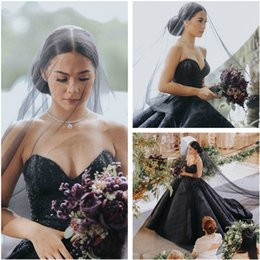 Wholesale Noble Training - Stunning Bohemian Wedding Dresses 2017 Sexy Sweetheart Beaded Lace Ball Gown Bridal Dress Black Sequins Noble Country Wedding Gowns