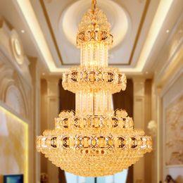 luzes de salão moderno Desconto Candelabro de Cristal de Ouro Americano Moderna Lustres Luminária Villa Home Iluminação Interior Do Hotel Hall Lobby Parlor Longa LEVOU Pendurar Lâmpadas