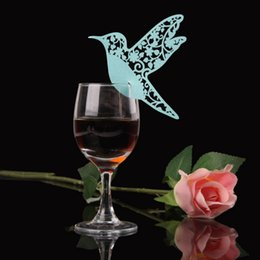 Wholesale Place Cards Birds - Wholesale- 50pcs DIY Place Card Flying Birds Cups Glass Wine Wedding Name Cards Laser Cut Pearlscent Paper Cards Birthday Party Decoration