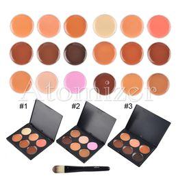 Wholesale Brush Colour - 6 Colours Facial Concealer Cream Foundation Makeup Camouflage Concealer Palette with Makeup Brush 1pcs concealer palette + 1pcs brush