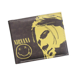 Wholesale Smile Wallet - Popular Music Band Wallet Grunge Rock Band Nirvana Wallet For Men Women Fans Comic Smile Purse Short Wallet Credit Card Holder Bag Wholesale