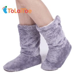 Wholesale Socks Slippers Warm Women - ToLaiToe Free Shipping Home Soft Plush Home Shoes Slippers Coral Fleece Indoor Floor Sock Indoor Slipper Winter Foot Warmer Best sh015
